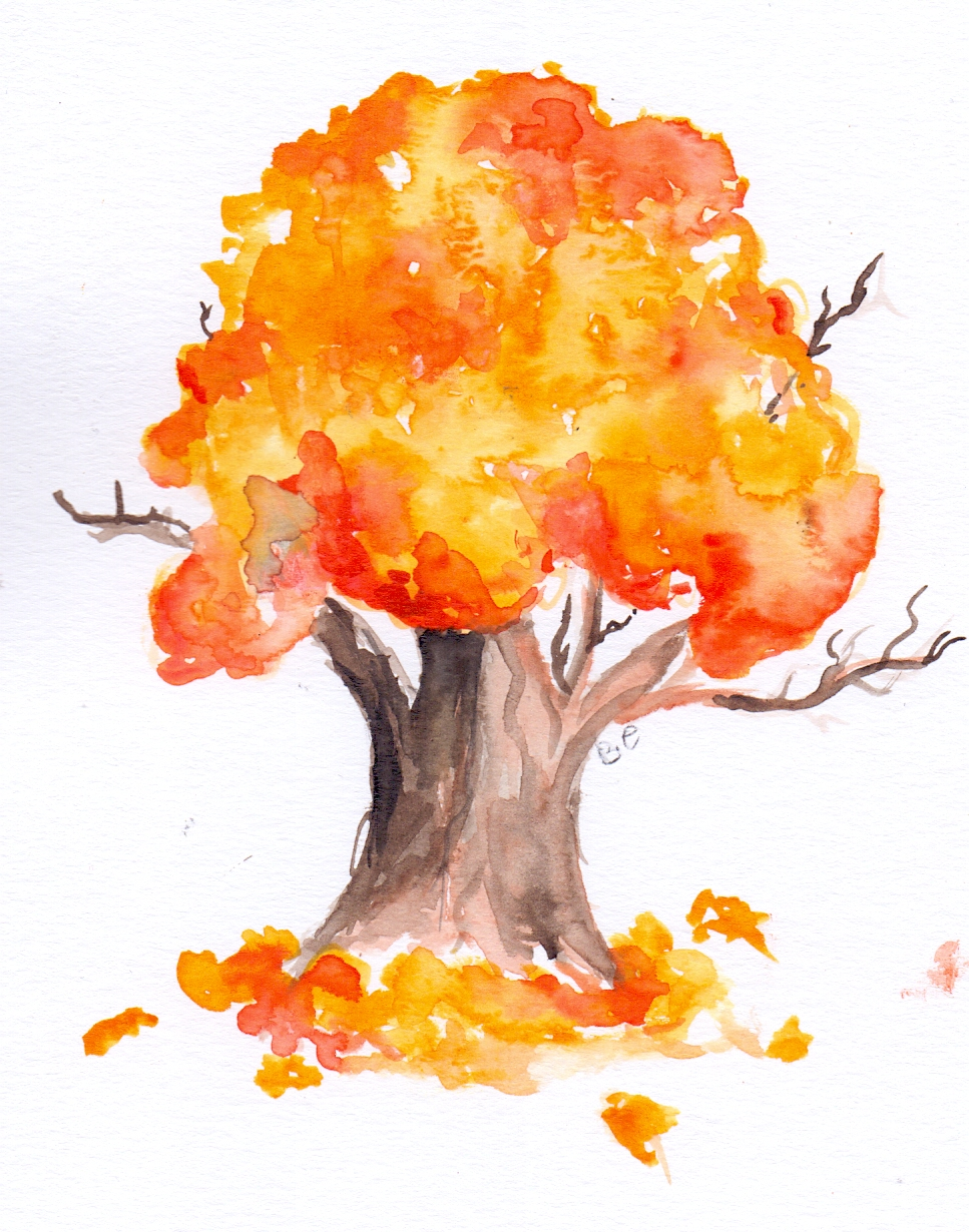 Watercolour yellow tree Autumn